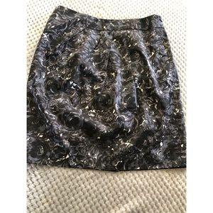 Ann Taylor Loft Black Floral Skirt 8 Petite